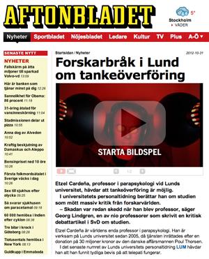 Aftonbladet, Lund, tankeöverföring