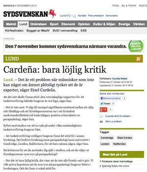 Etzel Cardena, replik i Sydsvenskan