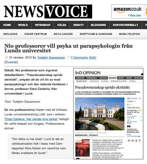NewsVoice: Nio professorer försöker psyka ut parapsykologiprofessor