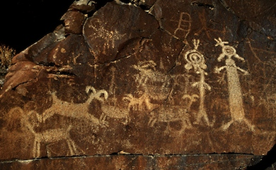 Because the association of a shaman with his spirit helper was so great, he was belived to sometimes transform into his animal spirit when he went into the supernatural. Some Bighorns are shown as combinations of human and animal features, and some of the Bighorn motifs portray the internal body design that its also seen in many of the human figures.