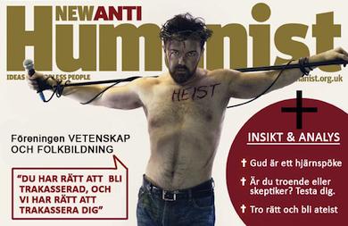 Framsida på engelsk tidning för nyateister, här omgjord för svenska förhållanden.