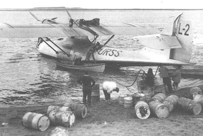 Den Sovjet-byggda Catalina som Wilkins-expeditionen använde i flygsökningen efter försvunna ryska piloter.