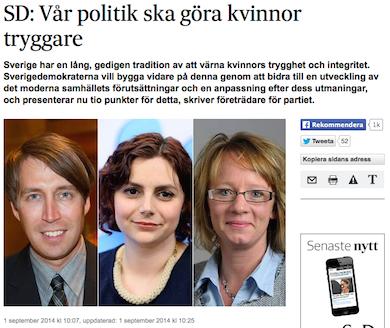 SD artikel i SvD 1 sept 2014.  Richard Jomshof (rättspolitisk talesperson), Paula Bieler (jämställdhetspolitisk talesperson) , Carina Herrstedt (ordförande SD-Kvinnor)