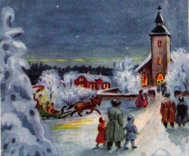 Julotta utsnitt vykort av Stina Broomé (1891-1991