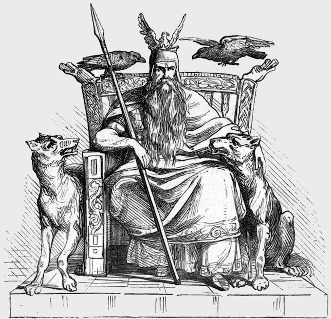 Oden med sina korpar Hugin och Mumin samt sina båda vargar, sittande på sin tron i Valhall, de döda vikingakämparnas paradis. På huvudet hans örnhamn.