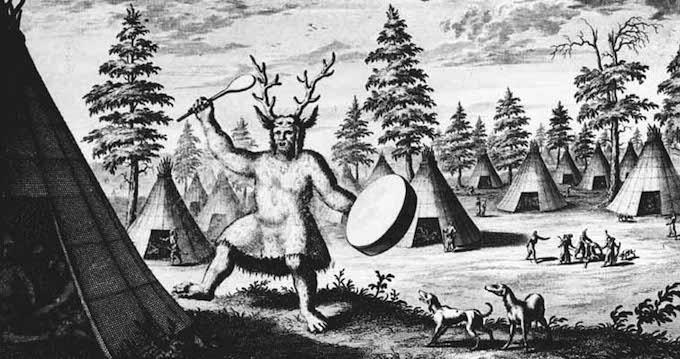 Tidig avbildning av en sibirisk shaman, 1692