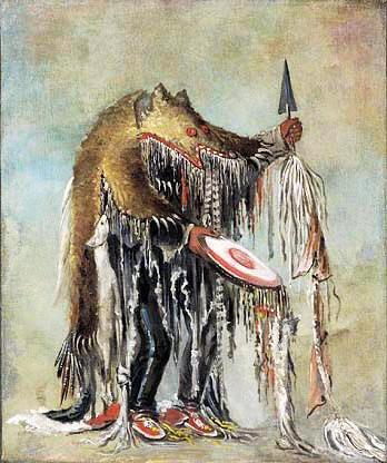 Svartfot indian. Shaman/medicinman i björnskinn.
