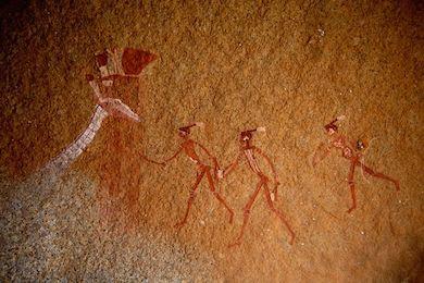 Bushman / San målningar tydligen föreställande huvudet och halsen på en giraff