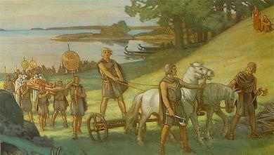 Begravningsprocession under bronsåldern med bronssköldar, ceremoniyxor, häst dragen av vagn och skepp. (Beskuren bild från skolplansch)