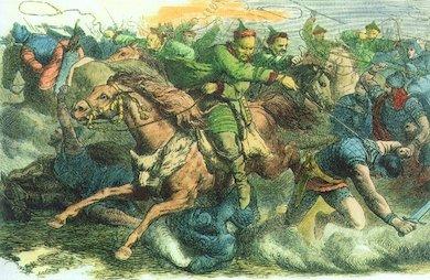 Hunnerna, ett nomadfolk från Euroasiatiska stäpperna. Konstnär: Johann Nepomuk Geiger (1805-1880).