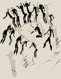 """Bushmen teckning trance dans """"Halvdöd"""" döden är en metafor för transtillståndet."""