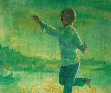 """""""Lycka!"""" utsnitt olja av Börje Peratt (1973)"""