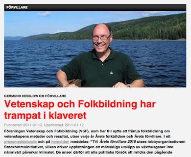 Prof Germund Hesslow artikel ursprungligen publicerad: 2011-01-12 på Newsmill.se