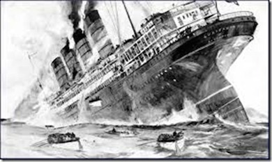 Det brittiska passagerarfartyget Lusitania torpederas 7 Maj 1915