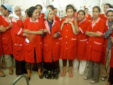 Fabriksarbetande kvinnor i Tunisien