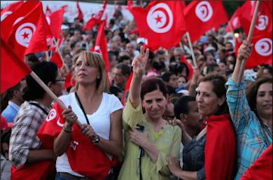 Tunisiska kvinnor demonstrerar för jämställdhet @CAWTAR