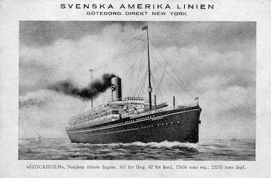 S/S Stockholm, primiärtur 1915. Senare såld till Norge och sjönk 1942 under tyskt bombanfall