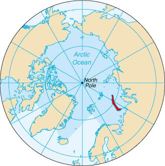 Novaja Zemlja, platsen för den ryska vätebomben 1961 (Wikicommons)