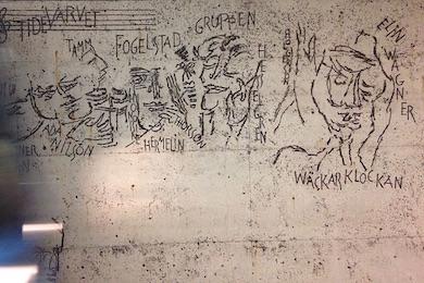 Fogelstagruppen, en del av Siri Derkerts relief, på Östermalmtorgs tunnelbanestation i Stockholm.