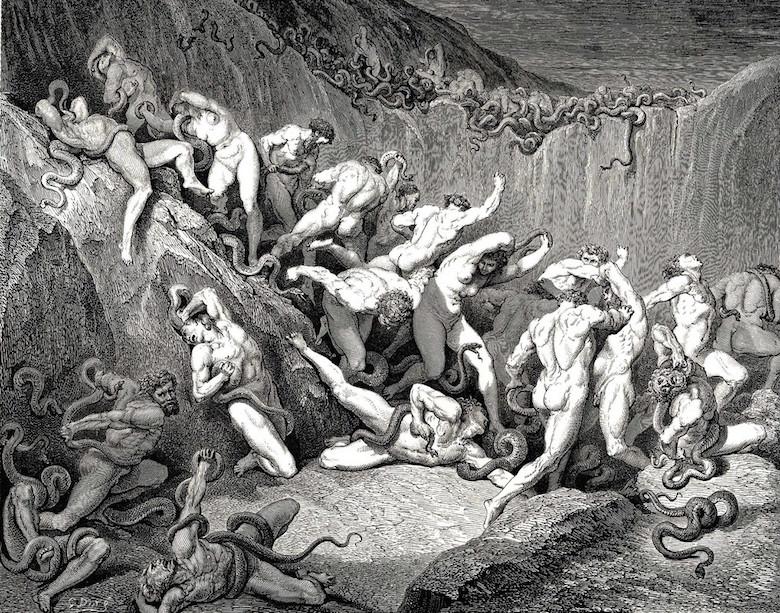 """Inferno Canto 24, """"Tjuvar torterade av ormar,"""" illustration av Gustave Doré"""