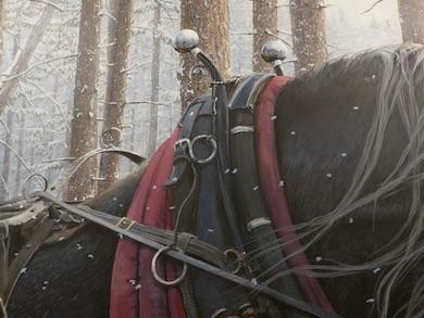 Utsnitt Hästarna Zack och Zeb. Akrylmålning av Troels Kirk i Näsum, 2014. Foto:Nils-Olof Jacobson