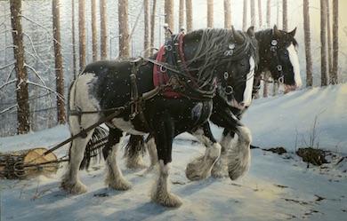 Hästarna Zack och Zeb. Akrylmålning av Troels Kirk i Näsum, 2014. Foto: Nils-Olof Jacobson