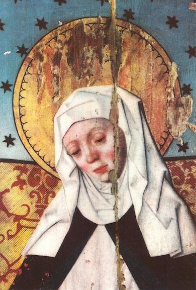 Heliga Birgitta (1303 -73) avbildad på altarskåp från 1480-talet (Wikimedia commons)