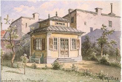 Akvarell utförd av Herman Muller, 1865