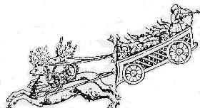 En bikarl med sin handelsvagn. Källa: Schefferus bok LAPPONIA (LAPPLAND) utgiven år 1673