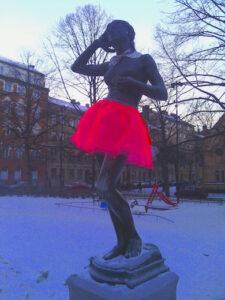 Gerillaslöjd på Mariatorget i Stockholm