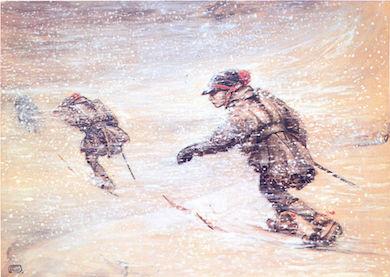 Samer i snöstorm. John Bauer 1904-05 (Public Domain)