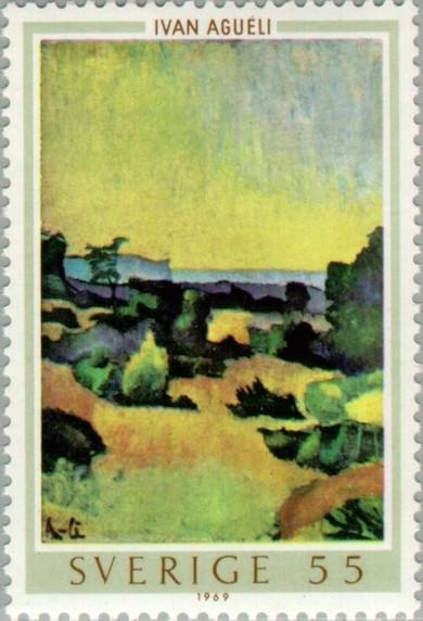 """Ivan Agueli (1969-1917) """"Gotländskt landskap"""" Frimärke 1969"""