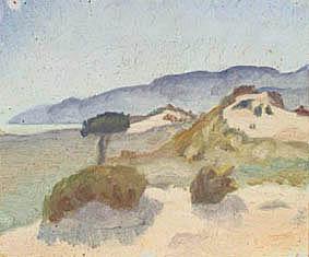 Landskap med sandkullar och havsbukt. 1916