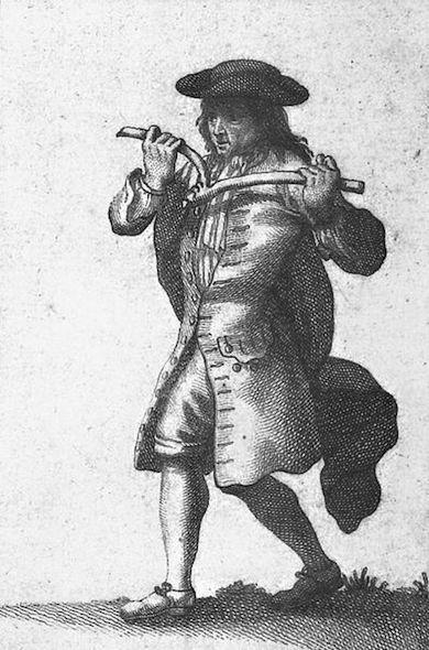 Man med slagruta. Teckning från 1700-talet.