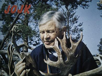 Mattias Kuoljok på skivomslaget till Jojk