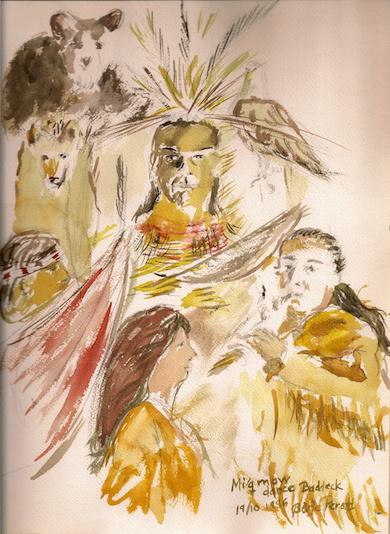 Mic Mac ritual dance, Canada (Akvarell, Börje Peratt 19/10-1996)