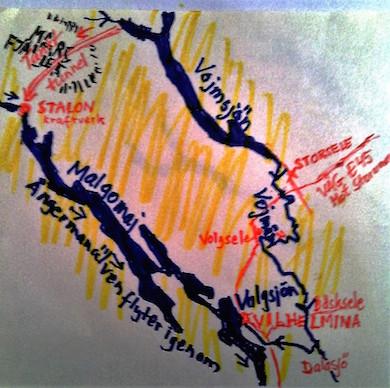Karta över Vojmåbygden samt den planerade tunneln till Stalon (K. Wistrand)