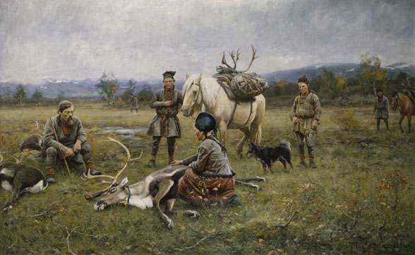Samer tillvaratar skjutna renar. Johan Tirén.