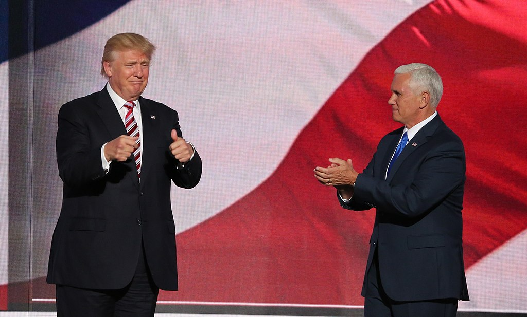 Candidate Trump and running mate Mike Pence at the Republican National Convention, July 2016 Ali Shaker/VOA - http://m.voanews.com/a/republican-national-convention-day-three-/3427729.html