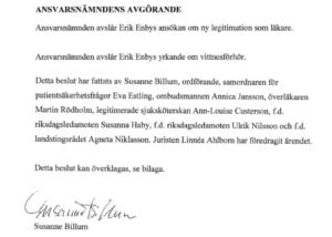 Dr. Erik Enby nekades åter sin legitimation