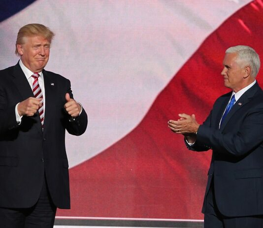 Candidate Trump and running mate Mike Pence at the Republican National Convention, July 2016 Wikipedia https://en.wikipedia.org/wiki/Donald_Trump#/media/File:Donald_Trump_and_Mike_Pence_RNC_July_2016.jpg