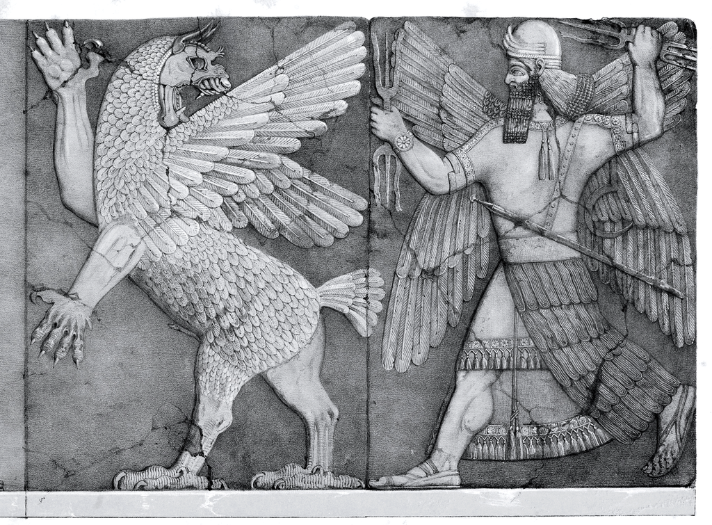 Chaos Monster and Sun God editor Austen Henry Layard , drawing by L. Gruner - 'Monuments of Nineveh, Second Series' plate 5, London, J. Murray, 1853 Wikipedia Public Domain