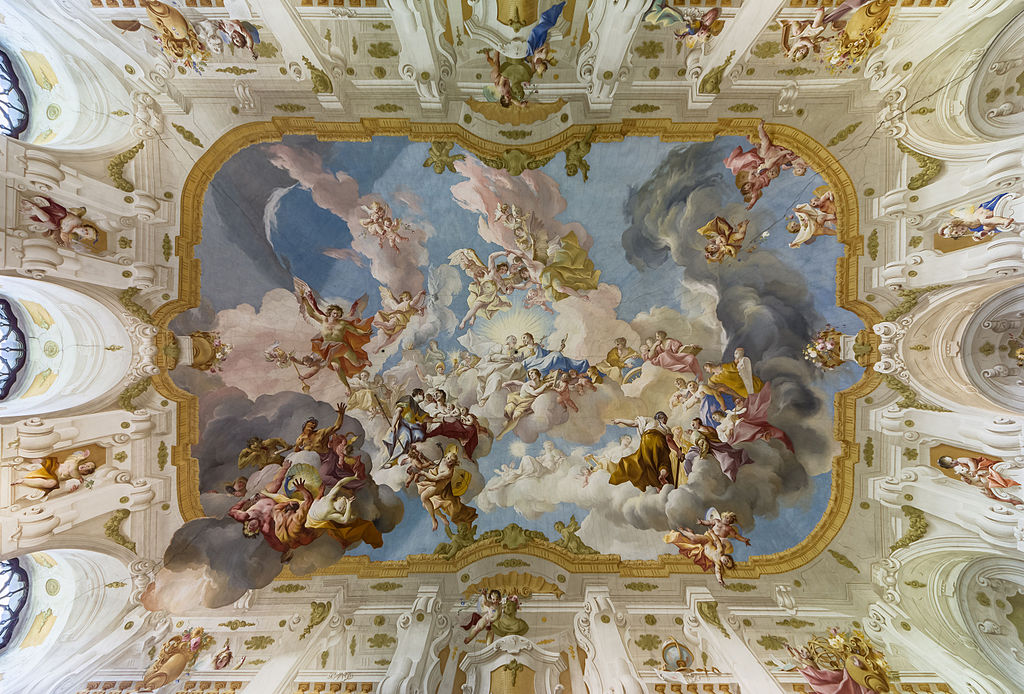 "The Harmony between Religion and Science, a ceiling fresco of the Marble Hall at Seitenstetten Abbey (Lower Austria) by Paul Troger, 1735 <a href=""https://en.wikipedia.org/wiki/Angel#/media/File:Stift_Seitenstetten_Marmorsaal_Deckenfresko_01.JPG"" rel=""noopener noreferrer"" target=""_blank"">Wikipedia"