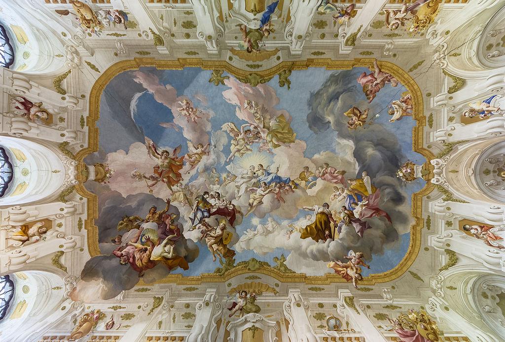 "The Harmony between Religion and Science, a ceiling fresco of the Marble Hall at Seitenstetten Abbey (Lower Austria) by Paul Troger, 1735 <a href=""https://en.wikipedia.org/wiki/Angel#/media/File:Stift_Seitenstetten_Marmorsaal_Deckenfresko_01.JPG"" rel=""noopener noreferrer"" target=""_blank"">Wikipedia"