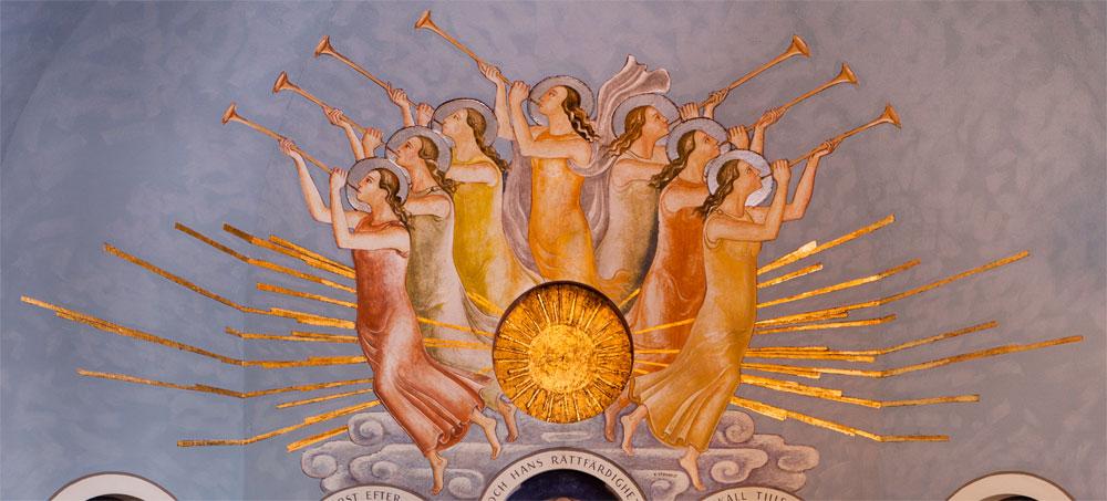 <em>De sju änglarna, Swedenborgs Minneskyrka, Stockholm. Med tillåtelse av Fotograf: </em><em>© Swedenborgskyrkan</em><em> </em><em>Thomas Floyd. </em>