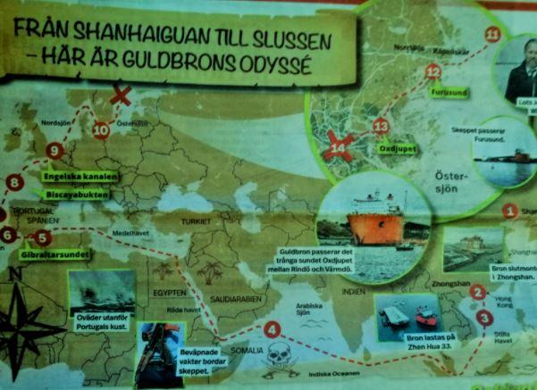 Karta över transport av guldbron via sjövägen från Kina